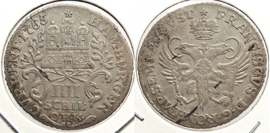 World Coins - GERMAN STATES: Hamburg 1765 4 Schilling