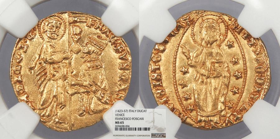 World Coins - ITALIAN STATES Venice Francesco Foscari 1423-1457 Ducat NGC MS-65