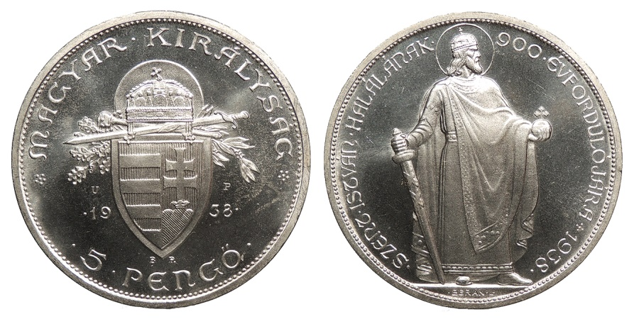World Coins - HUNGARY Miklós Horthy, Regent for Charles IV 1938-BP UP Proof Restrike 5 Pengo Proof