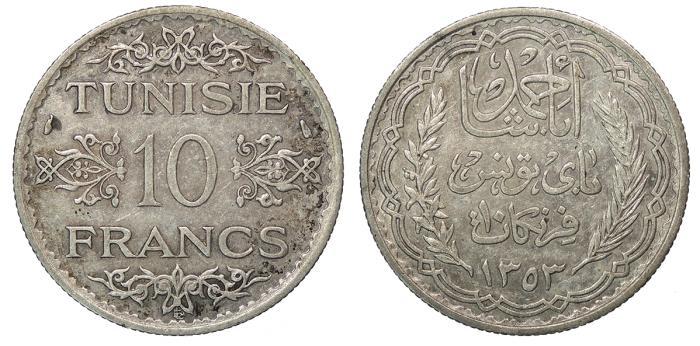 World Coins - TUNISIA Ahmad Pasha Bey AH 1353 (1934/1935) 10 Francs EF