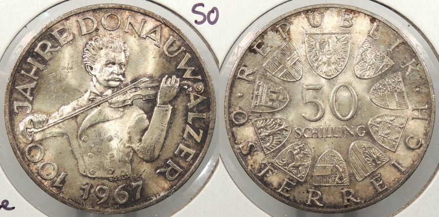 World Coins - AUSTRIA: 1967 Blue Danube Waltz 50 Schillings #WC63871