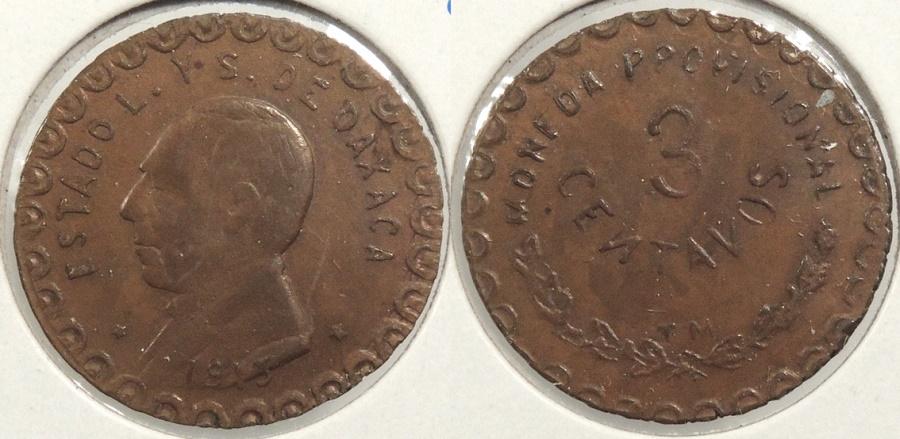 World Coins - MEXICO: Oaxaca 1915 3 Centavos #WC63391
