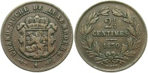World Coins - LUXEMBOURG: 1870 (no dot) 2 1/2 Centimes