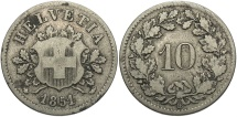 World Coins - SWITZERLAND: 1851-B 10 Rappen