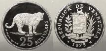 World Coins - VENEZUELA: 1975 Wildlife Conservation proof - Jaguar 25 Bolivares