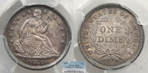 Us Coins - 1838 Seated Liberty; No Drapery; Large Stars 10 Cents (Dime) PCGS MS-63