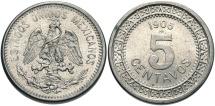 World Coins - MEXICO: 1906 M 5 Centavos
