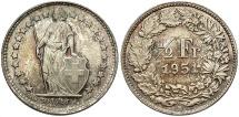 World Coins - SWITZERLAND: 1951-B 1/2 Franc