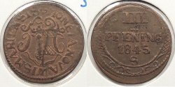World Coins - GERMAN STATES: Wismar 1845-S 3 Pfennig