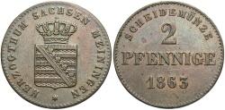 World Coins - GERMAN STATES: Saxe-Meiningen 1863 2 Pfennig