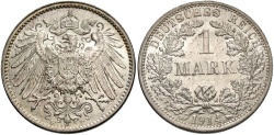 World Coins - GERMANY: 1914 F 1 Mark