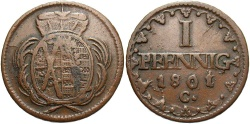 World Coins - GERMAN STATES: Saxony 1801 1 Pfennig