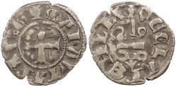 World Coins - CRUSADERS Frankish Greece: Principality of Achaia Maud de Hainaut 1316-1318 Denier VF