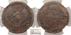 World Coins - RUSSIA Alexander I 1829-EM NK 2 Kopeks NGC AU-53 BN