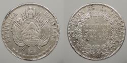 World Coins - BOLIVIA: 1867-Potosi FE Boliviano