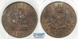 World Coins - CANADA Upper Canada 1850 Halfpenny Token PCGS MS-64 BN