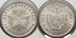 World Coins - CUBA: 1949 10 Centavos