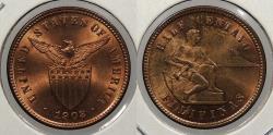 World Coins - PHILIPPINES: 1903 1/2 Centavo