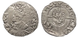 World Coins - FRANCE Besançon Charles V, as Holy Roman Emperor 1530-1556 1/2 Blanc 1545 EF