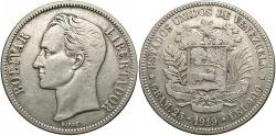 World Coins - VENEZUELA: 1919 5 Bolivares