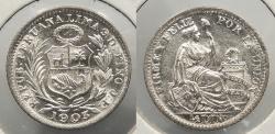 World Coins - PERU: 1903/897 1/2 Dinero