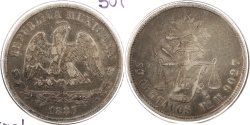 World Coins - MEXICO: 1887-Mo M 50 Centavos