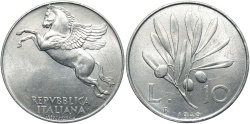 World Coins - ITALY: 1949 R 10 Lire