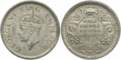 World Coins - INDIA: 1942 1/2 Rupee