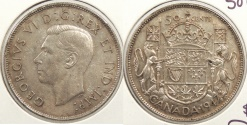 World Coins - CANADA: 1947 50 Cents