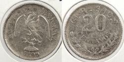World Coins - MEXICO: 1899-Go R 20 Centavos