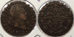 World Coins - SPAIN: 1833 2 Maravedis