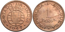 World Coins - INDIA: Portugese 1947 1 Tanga