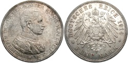 World Coins - GERMANY: Prussia Wilhelm II 1914 A 5 Mark