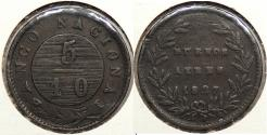 World Coins - ARGENTINA: Buenos Aires 1827 5/10 Real