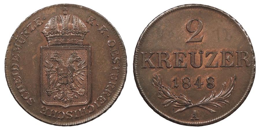 World Coins - AUSTRIA Franz Joseph I 1848 2 Kreuzer AU/UNC