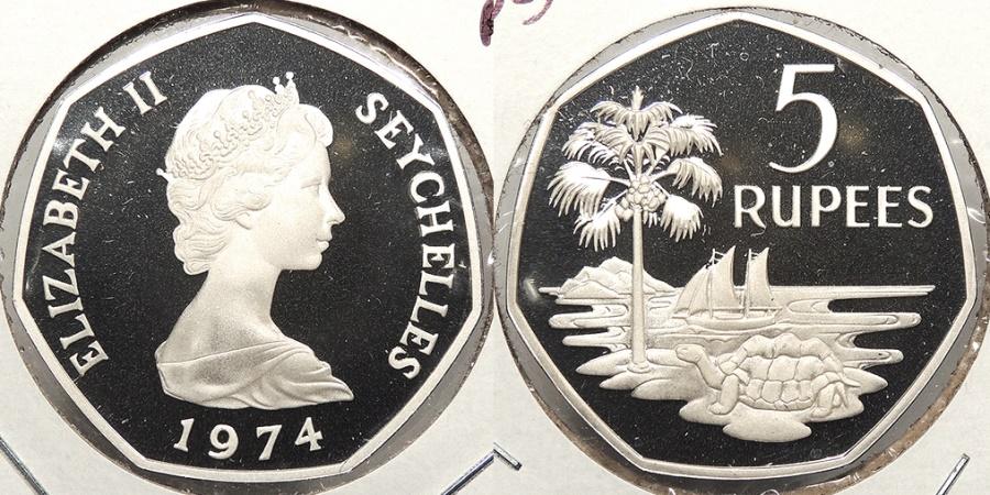 World Coins - SEYCHELLES: 1974 Proof 5 Rupee