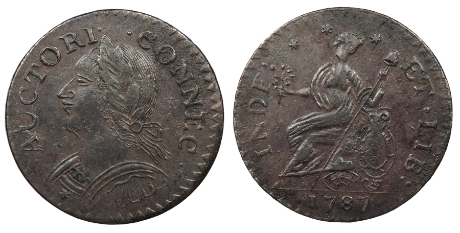 US Coins - 1787 Connecticut Copper Colonial Coinage Laughing Head; Miller 6.1-M AU