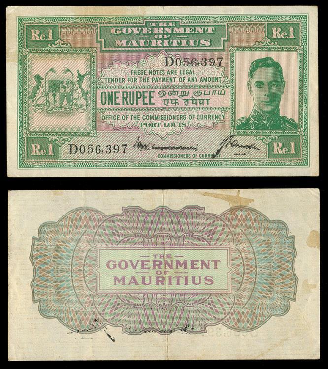 MAURITIUS Government of Mauritius ND (1940) 1 Rupee VF+ ...