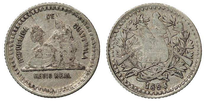World Coins - GUATEMALA Republic 1893 Flat top 3 1/2 Real EF