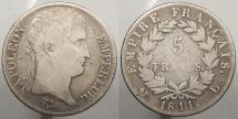 World Coins - FRANCE: 1811-L Bayonne mint. Mintage 1,122,630. 5 Francs