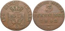 World Coins - GERMAN STATES: Prussia Friedrich Wilhelm IV 1842-D 3 Pfennig