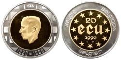 World Coins - BELGIUM Baudouin 1990 20 ECU Proof