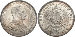 World Coins - GERMANY: Prussia 1914 3 Mark