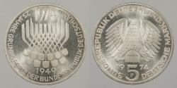 World Coins - GERMANY: West Germany 1974-F 5 Mark