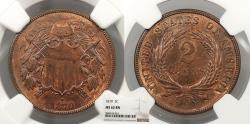 Us Coins - 1870 2 Cents NGC MS-62 BN