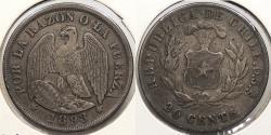 World Coins - CHILE: 1893-So 20 Centavos