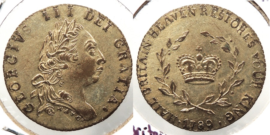 World Coins - GREAT BRITAIN: 1789 Hail Britain Heaven Restores its King. 'Halfpenny' imitation Guinea token