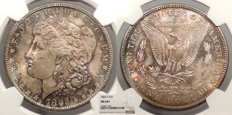 US Coins - 1882 S Morgan 1 Dollar (Silver) NGC MS-64+