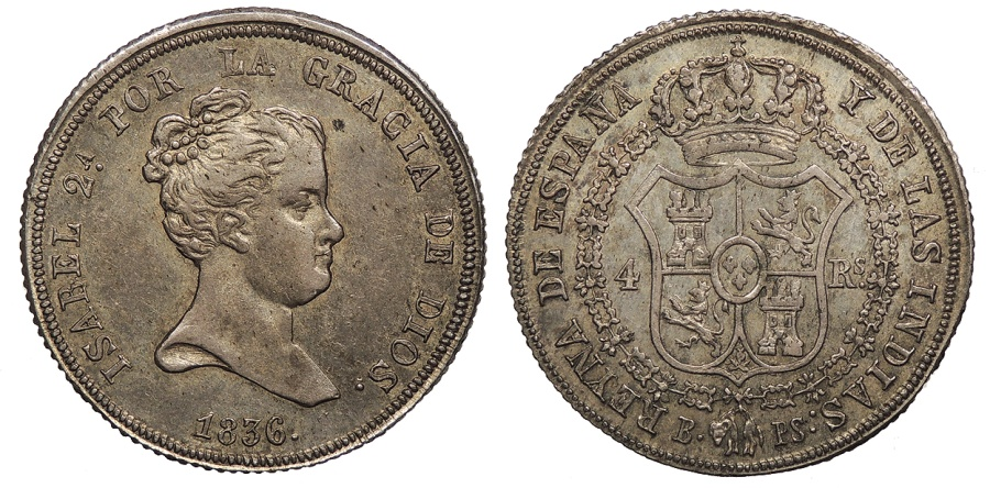 World Coins - SPAIN Isabel II 1836-BPS 4 Reales AU