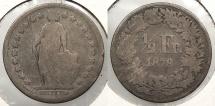 World Coins - SWITZERLAND: 1878 1/2 Franken